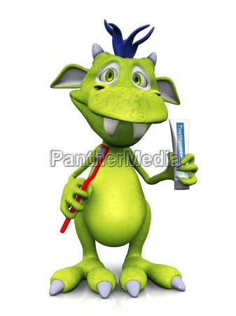 cute cartoon monster holding toothbrush and