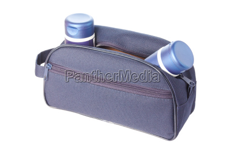 travel toiletries bag with mans cosmetics