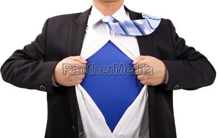 businessman with courage and superman