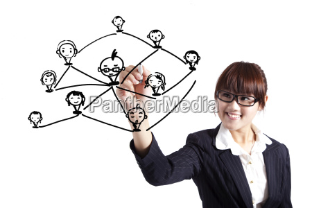 business woman drawing social network relationship