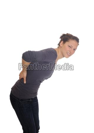 young woman has backache