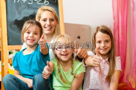 mother with her schoolchildren