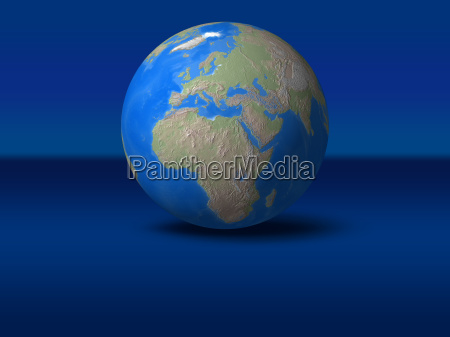 world globe on blue graphic background