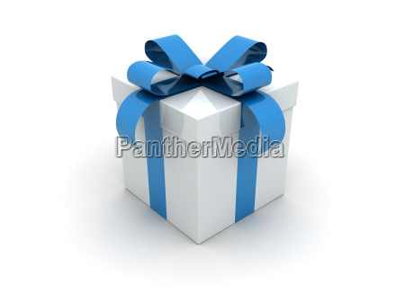 one white gift box with blue