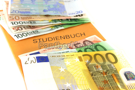 study book with euro notes