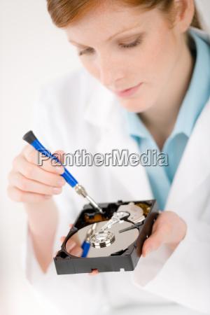 female computer engineer woman repair