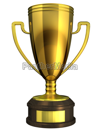 gold cup award trophy isolated on