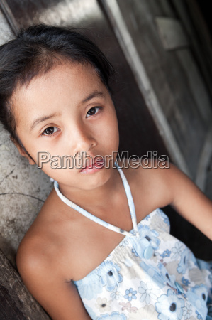 young asian girl portrait in poverty