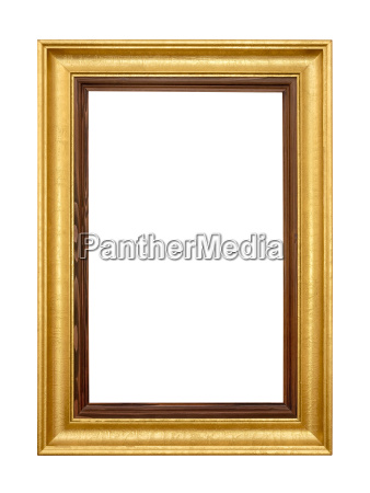 edler golden wooden frame on white