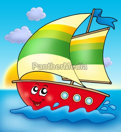 cartoon sailing boat with sunset
