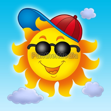 cartoon sun in cap on blue