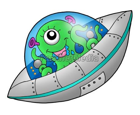 cute alien in spaceship