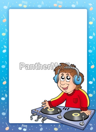 music frame with cartoon dj boy