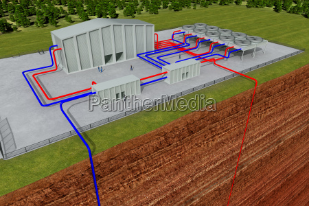 geothermal system with cutting through the