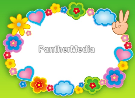 round hippie frame with flowers