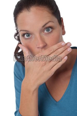 brown hair woman expressing shock