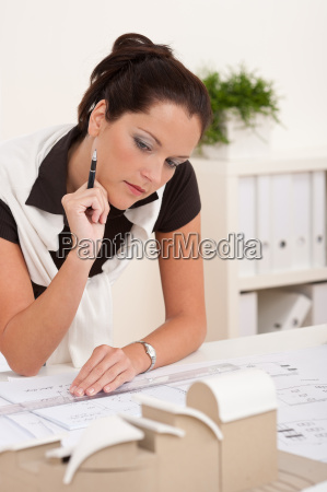 female architect working at the office