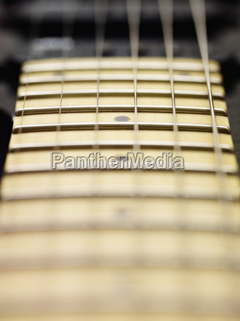 detail of electric guitar cords and