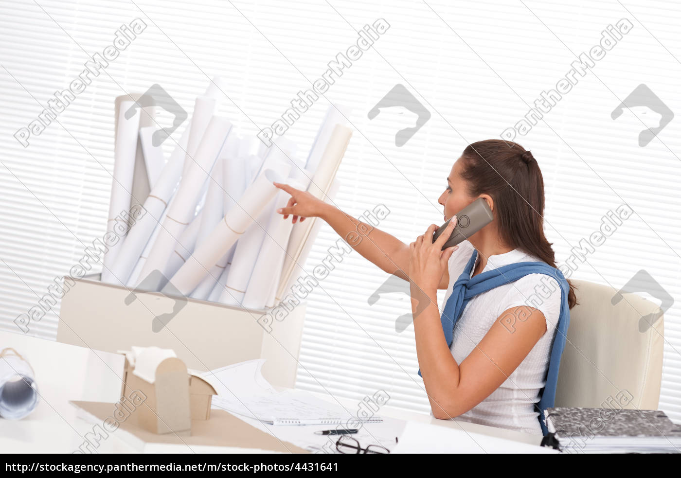 female, architect, calling, with, phone, at - 4431641