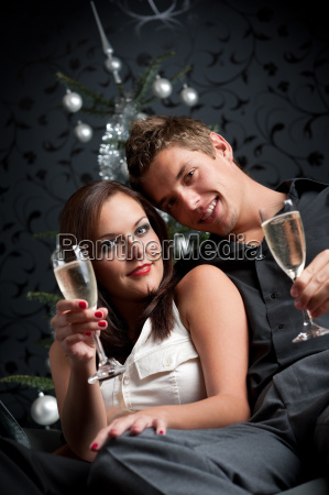 young extravagant man and woman with