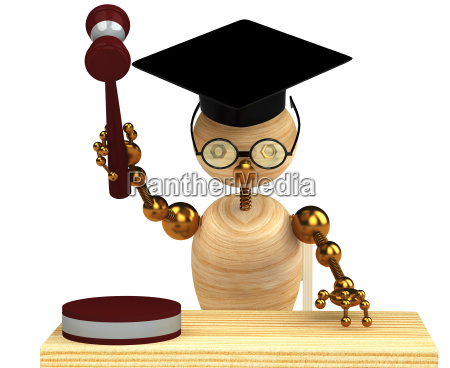 3d wood man holding a gavel