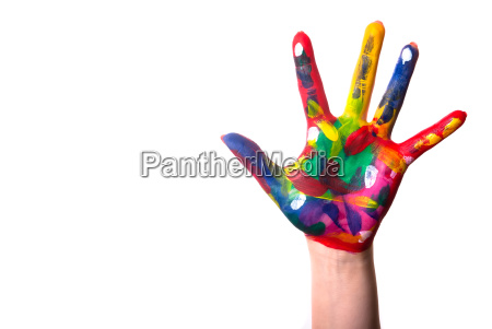 a colorful hand with copy space
