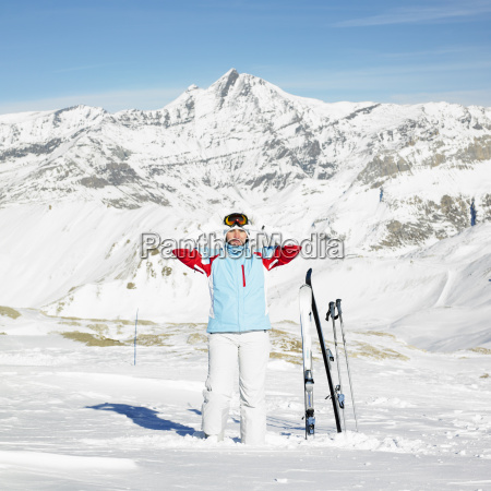 woman skier alps mountains savoie france