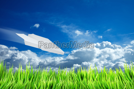 summer landscape and paper plane