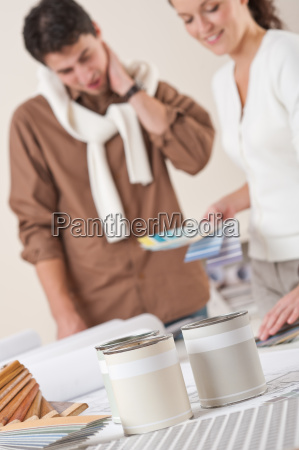 two interior designer working at office
