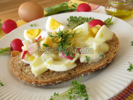 egg salad with cress and radishes