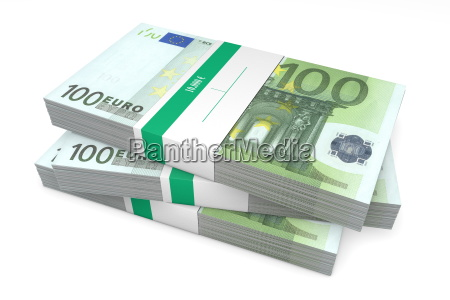 three packets of 100 euro notes