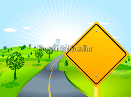 landscape with road sign