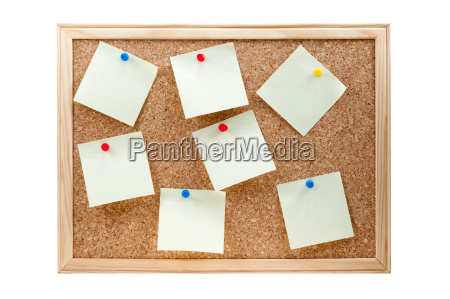 different sticky notes on a cork