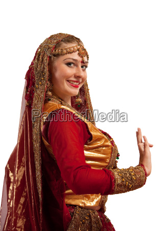 beauty girl in oriental costume with
