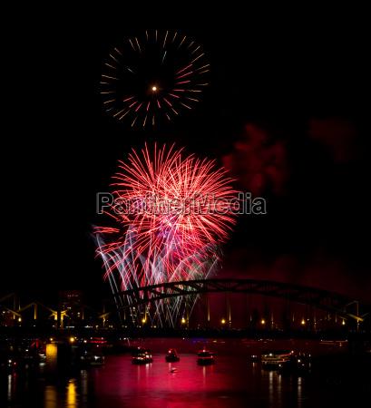 firework over the rhine river