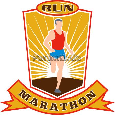 marathon runner run race shield