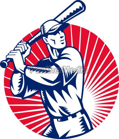 baseball player with bat batting