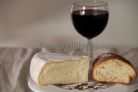 camembert and a glass of wine
