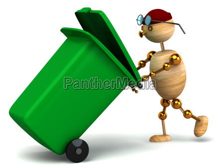 3d wood man pulling green waste