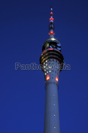 dresden tv tower in the evening