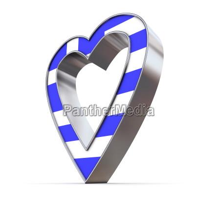 shiny metallic heart flag of