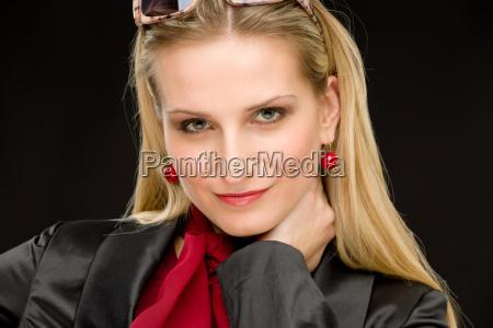 portrait fashion woman designer clothes