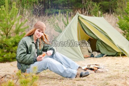 camping woman tent nature cut sausage