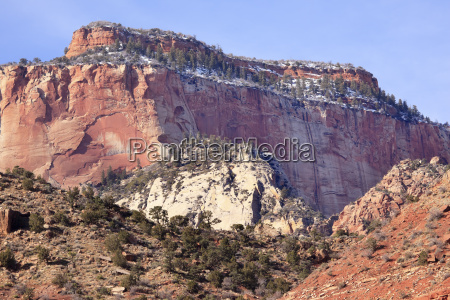 red rock canyon snow west temple