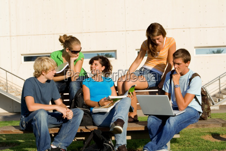 outdoor study group of students