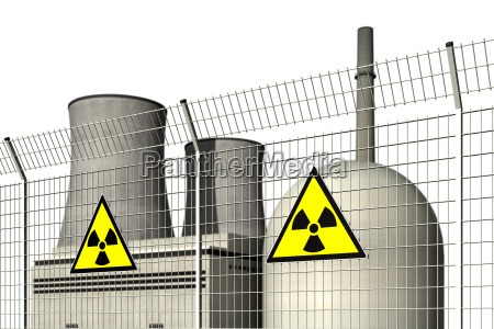nuclear power plant behind a barrier