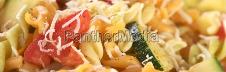fusilli with tomato zucchini and cheese