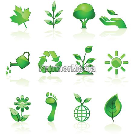 green environmental icons