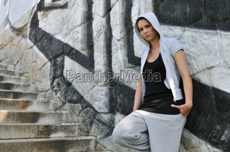 young woman in hip hop style