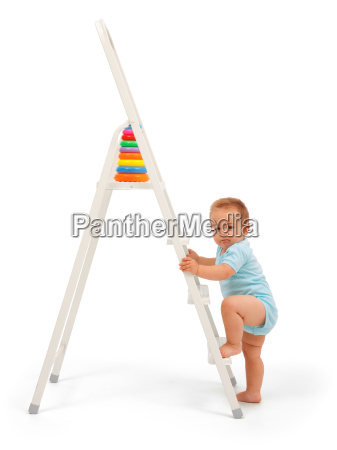 baby boy on ladder